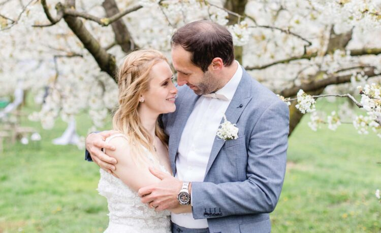 Wedding for two on a cherry tree meadow